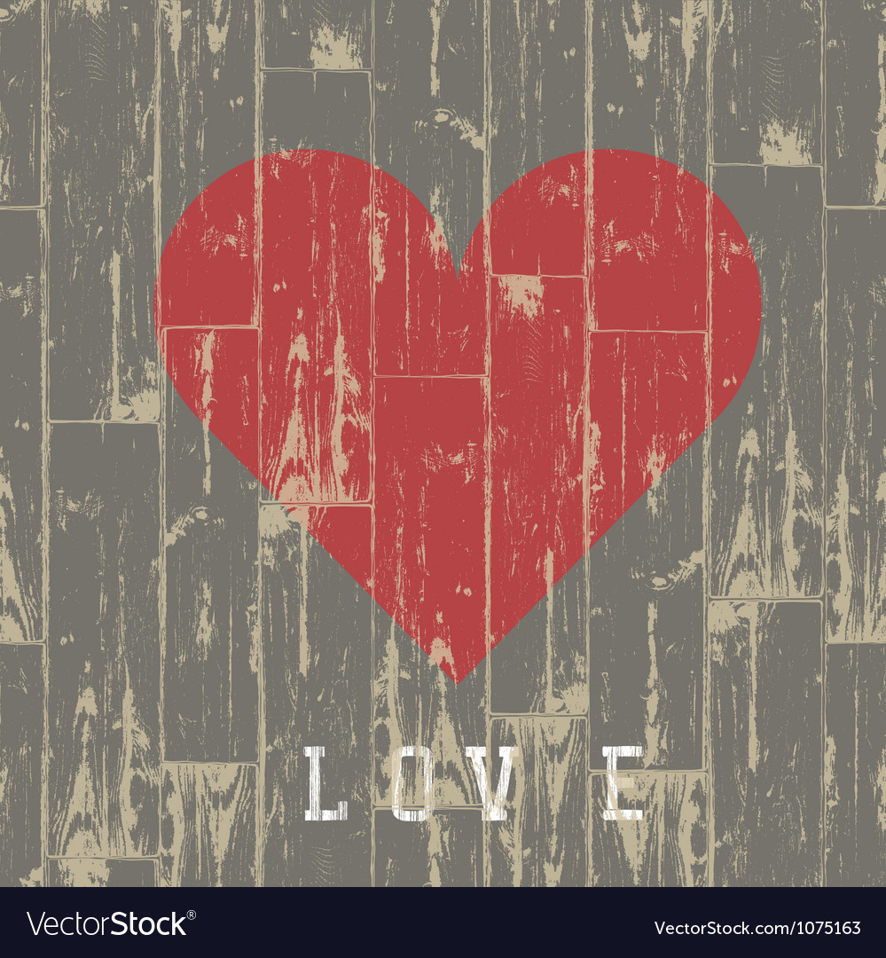 Heart on wood vector