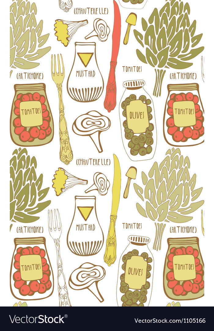 Vintage food hand drawn patterns vector