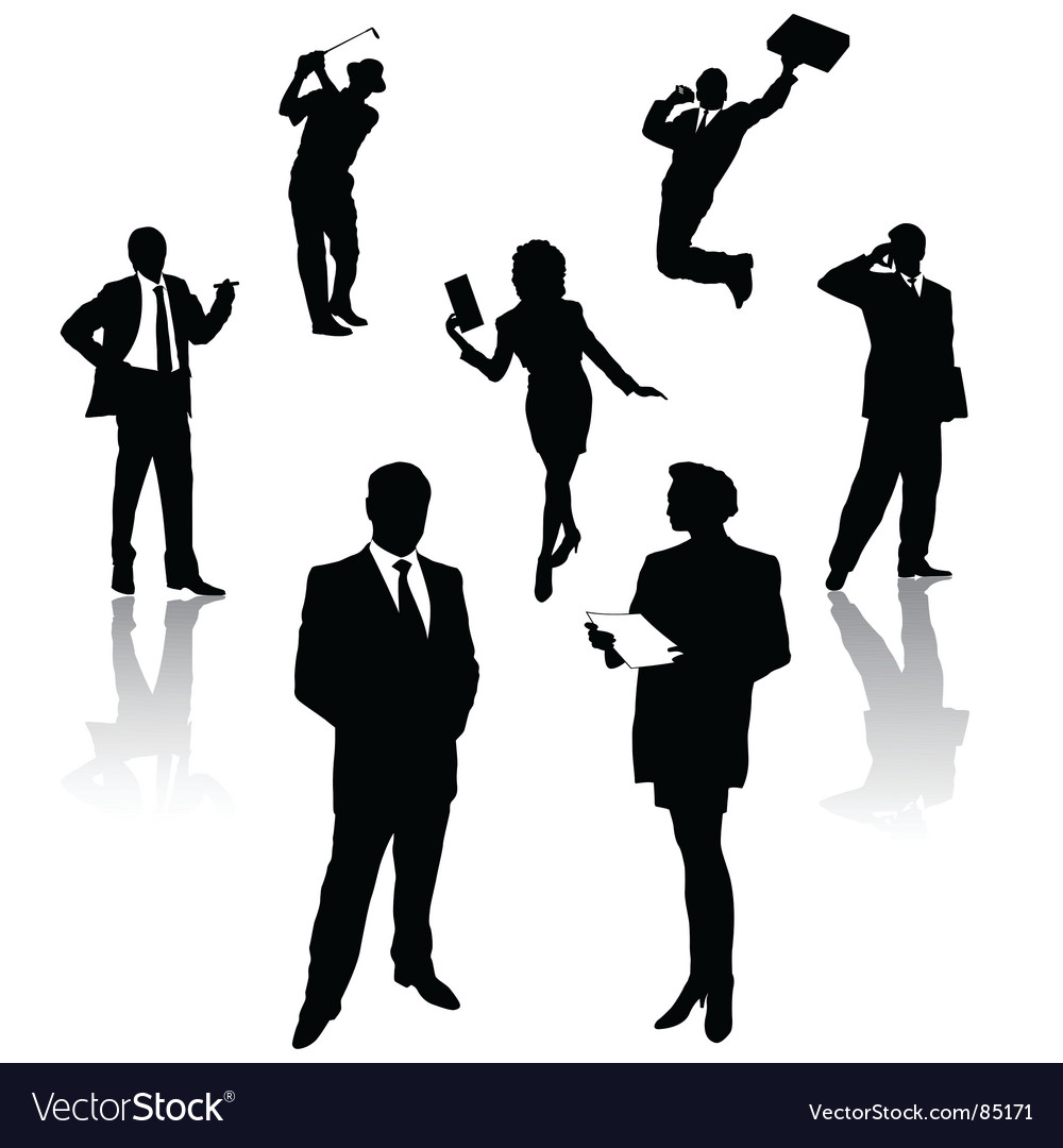 Silhouette of business people vector