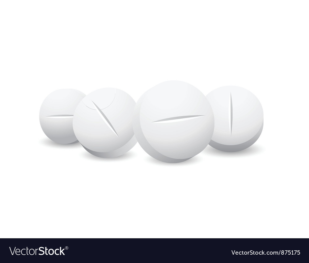 Four white pills vector