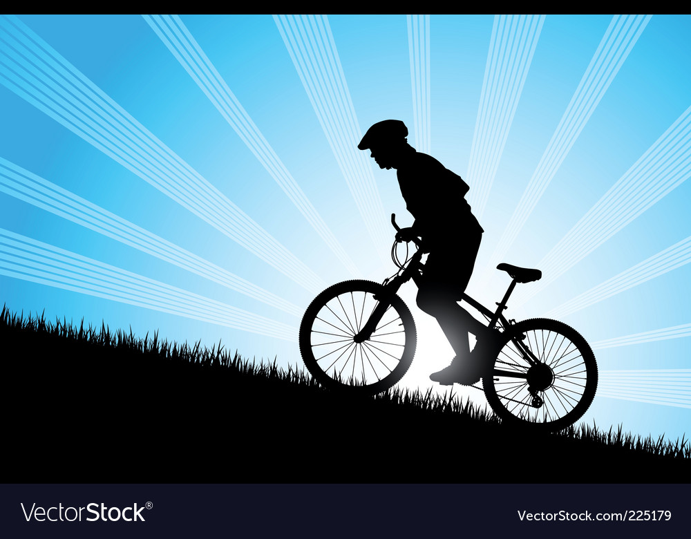 Biker riding up to hill vector