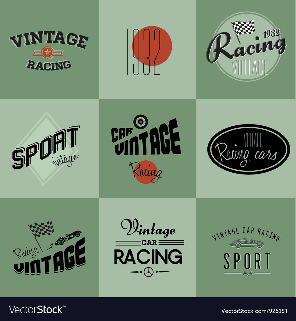 Vintage car racing badges vector