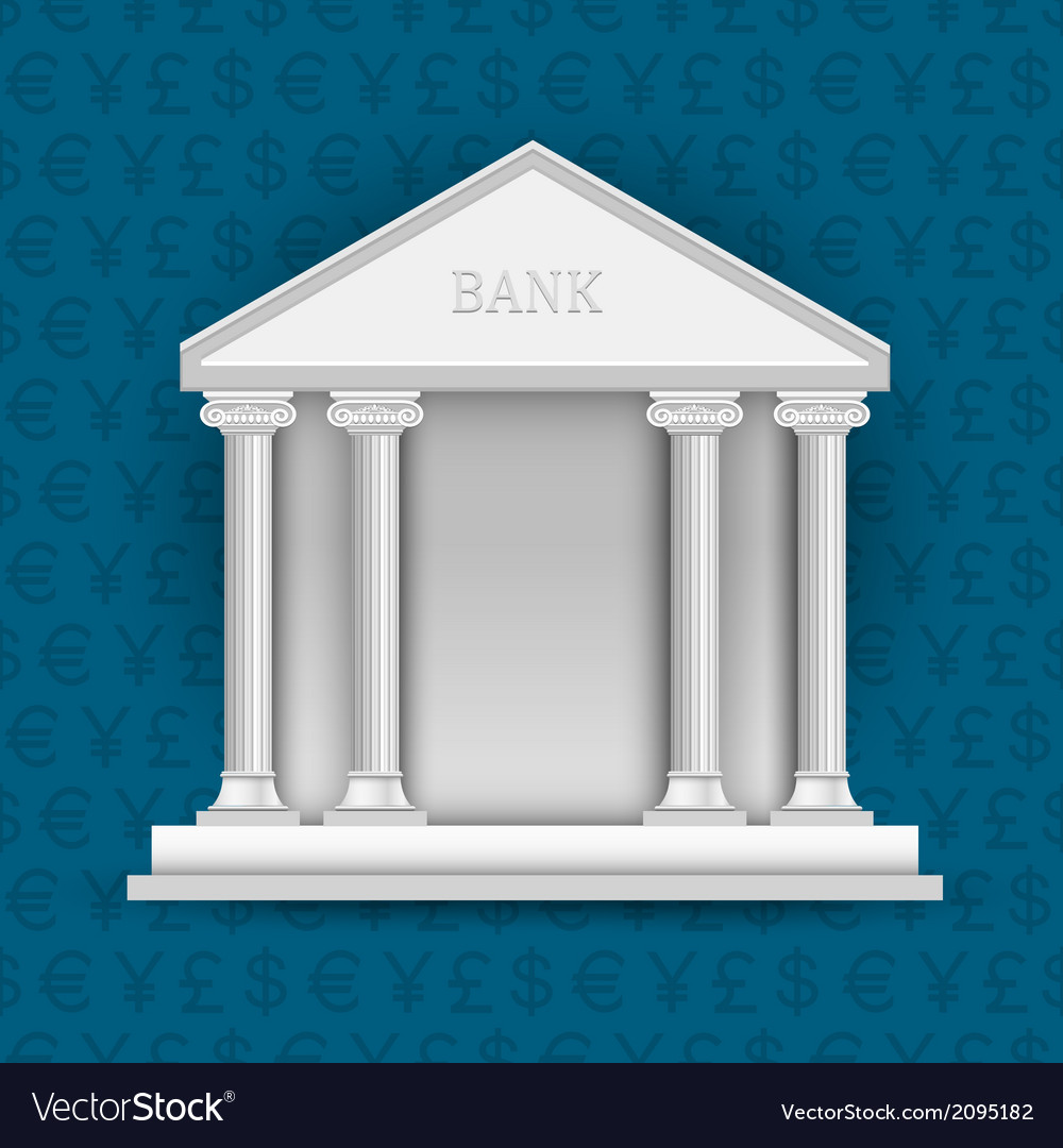 Bank on background of symbols currency vector