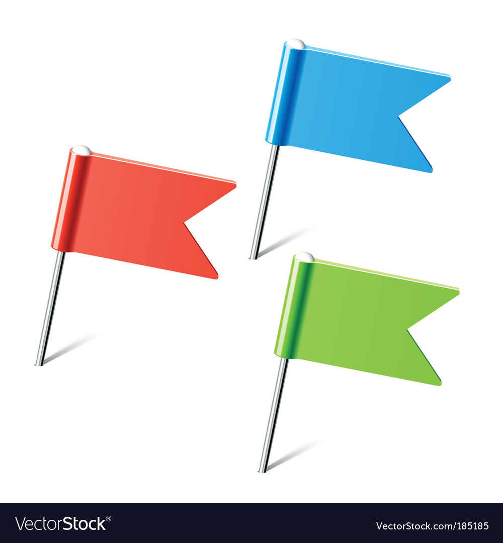 Set of color flag pins vector