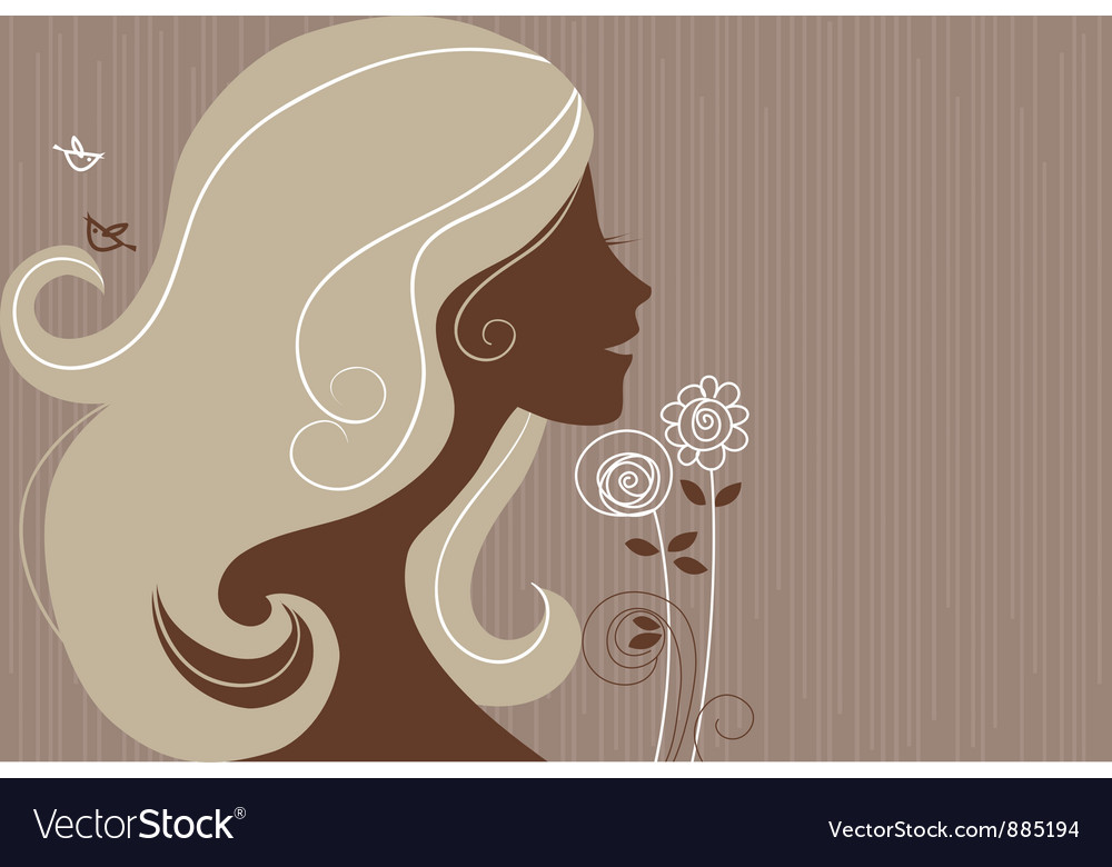 Beautiful girl silhouette with a flowers vector