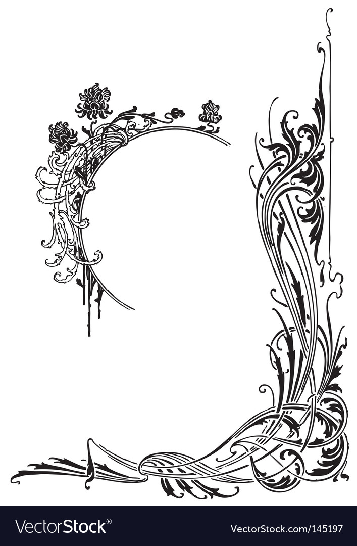 Antique frame engraving vector