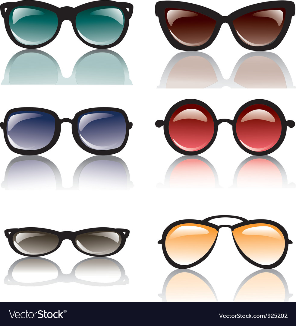 Sun glasses set of icons isolated vector