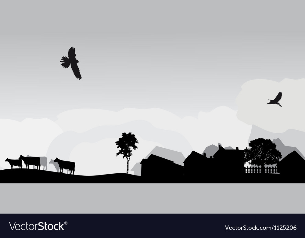 Grey landscape with trees and village vector