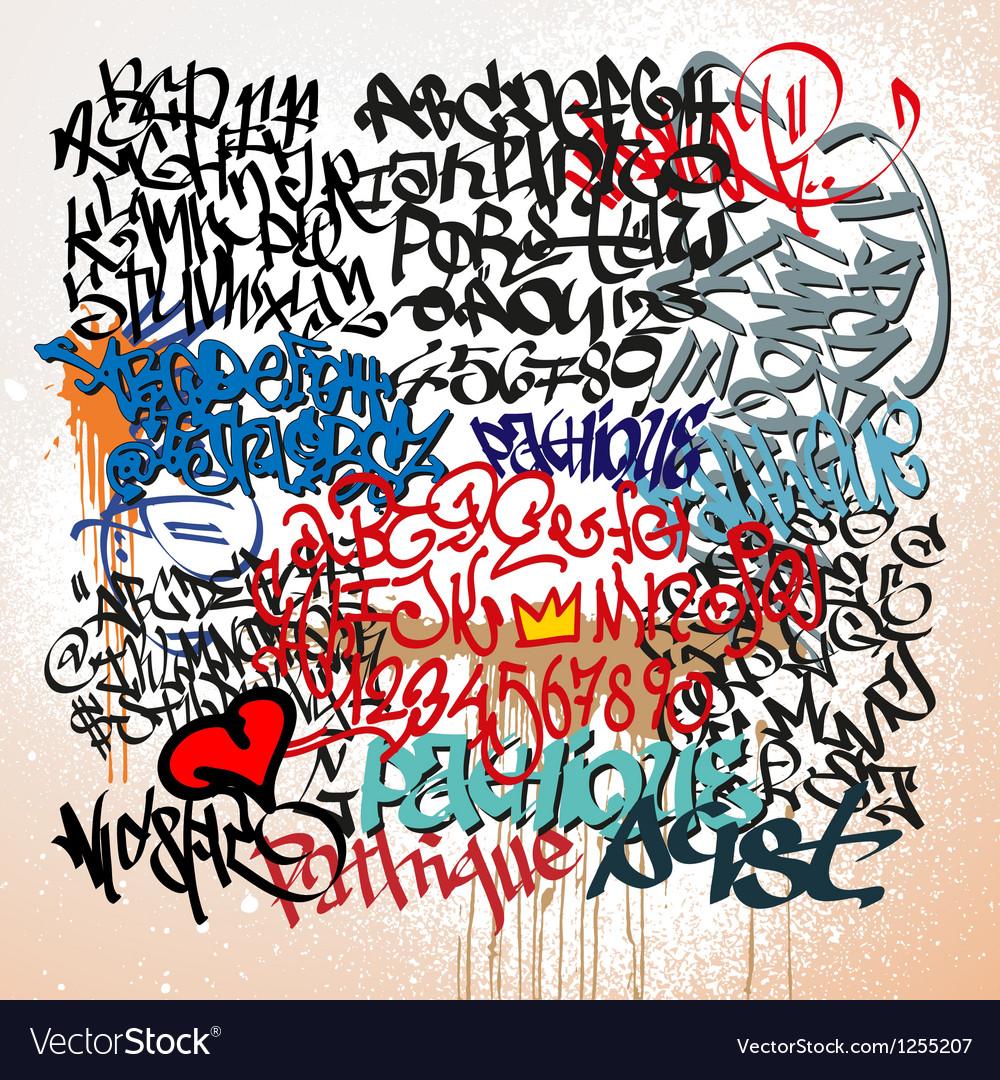 Graffiti tags street art background vector
