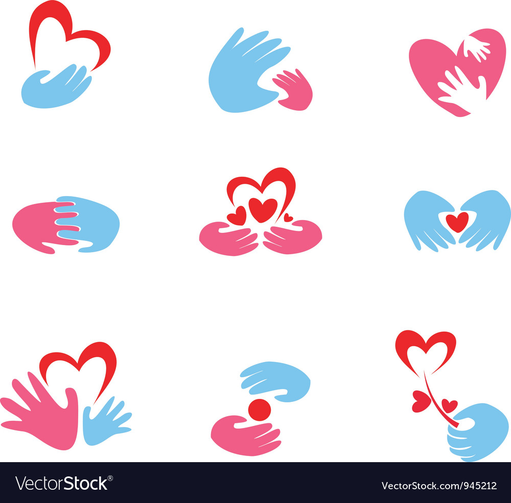 Hand and heart symbols vector