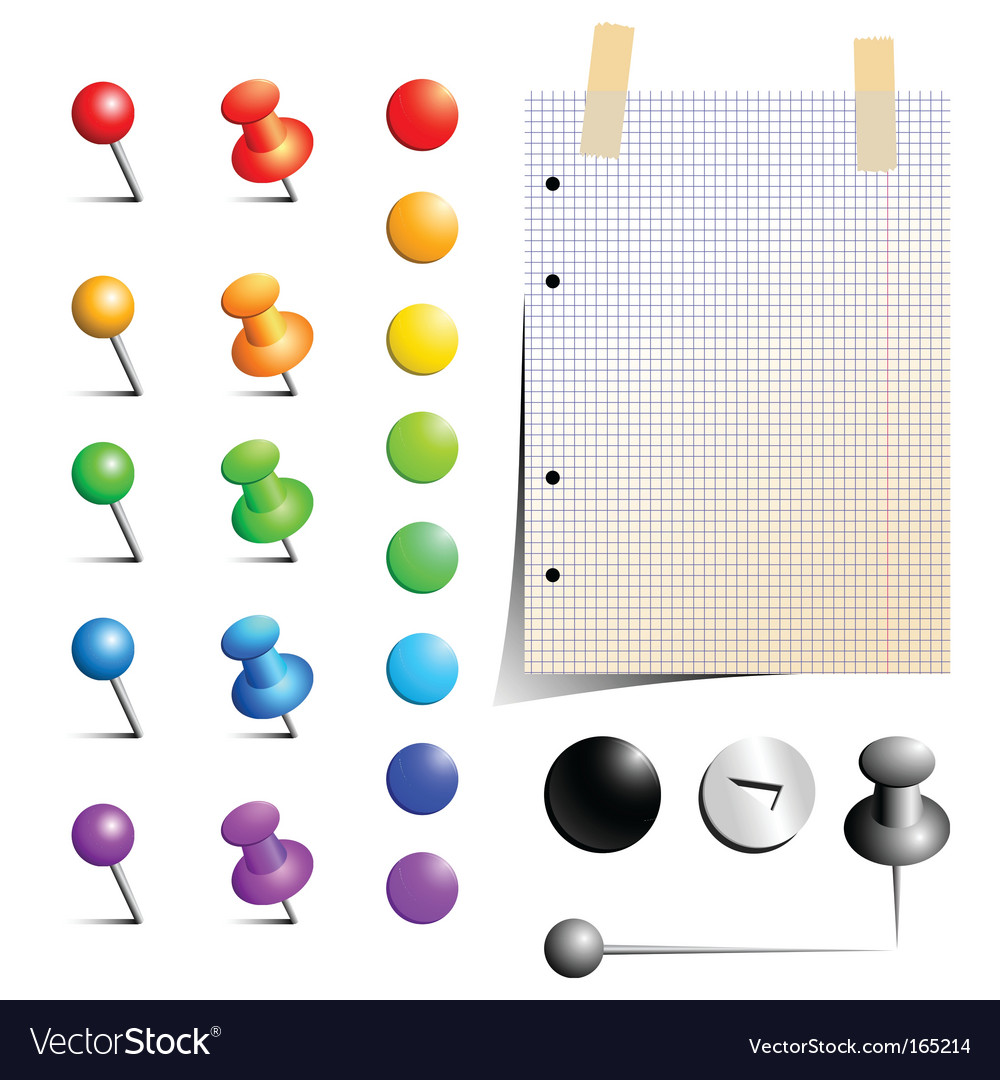 Pins and notepaper vector