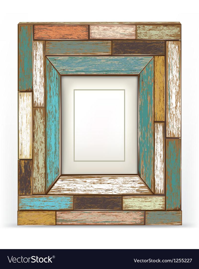Old vintage wood frame vector