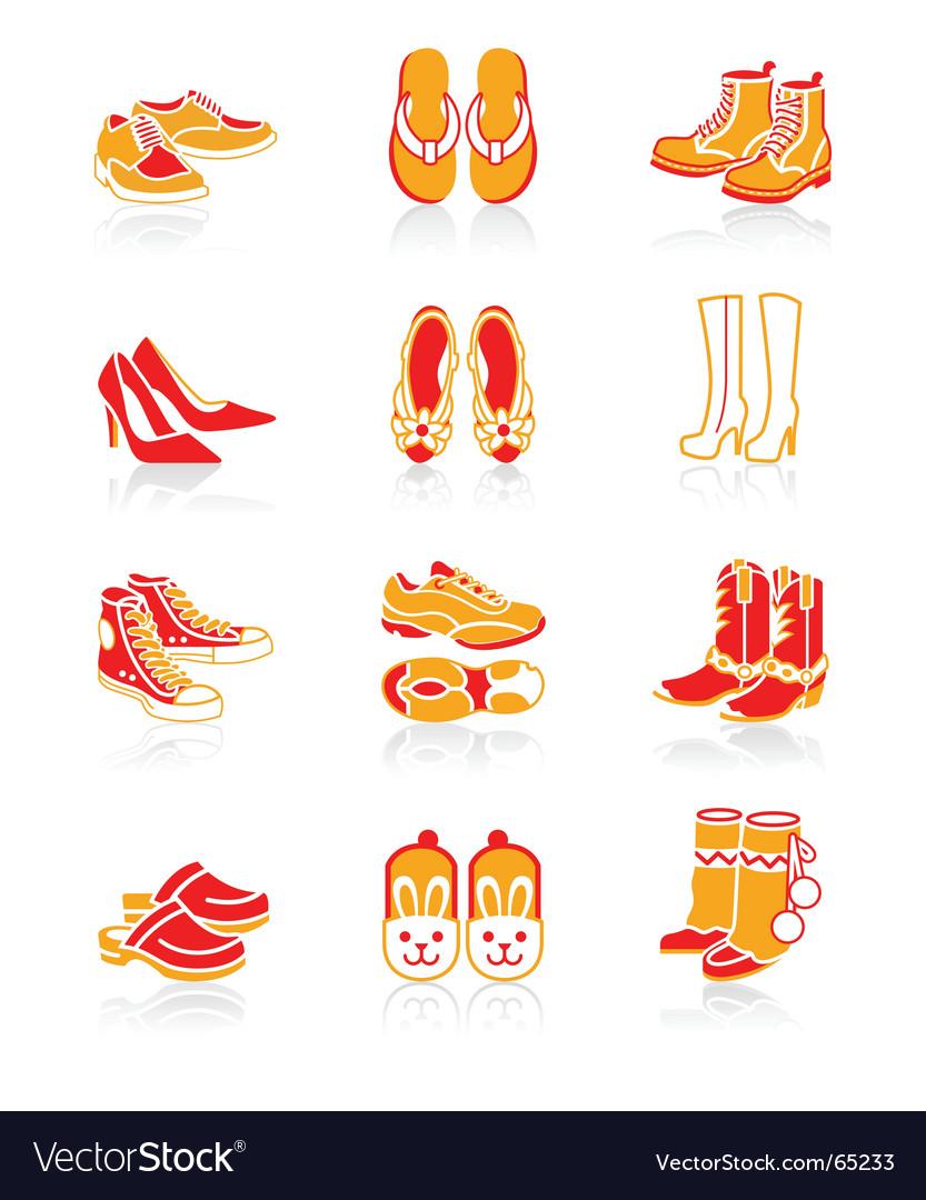 Footwear icons  juicy series vector