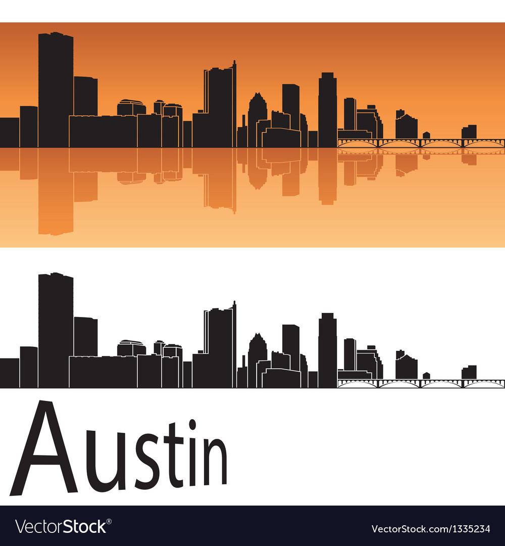 Austin skyline in orange background vector
