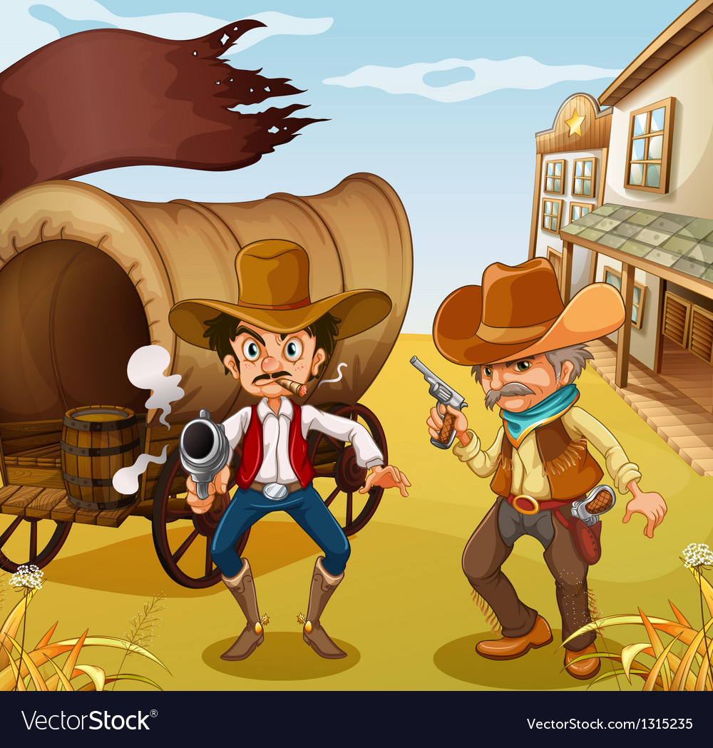 Two men holding guns with a wooden carriage at the vector