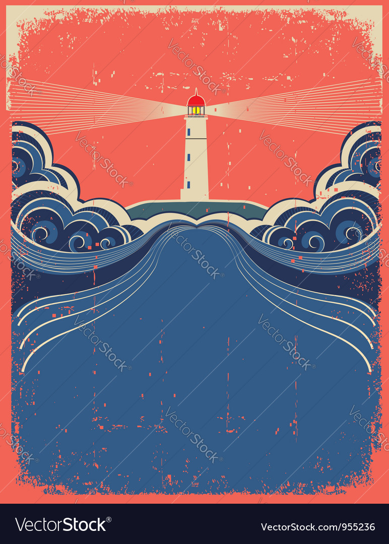Lighthouse and sea background on grunge poster vector