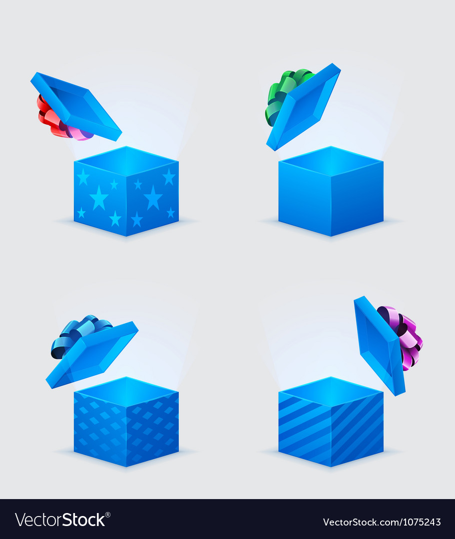Four gift boxes and flying cover with bow vector