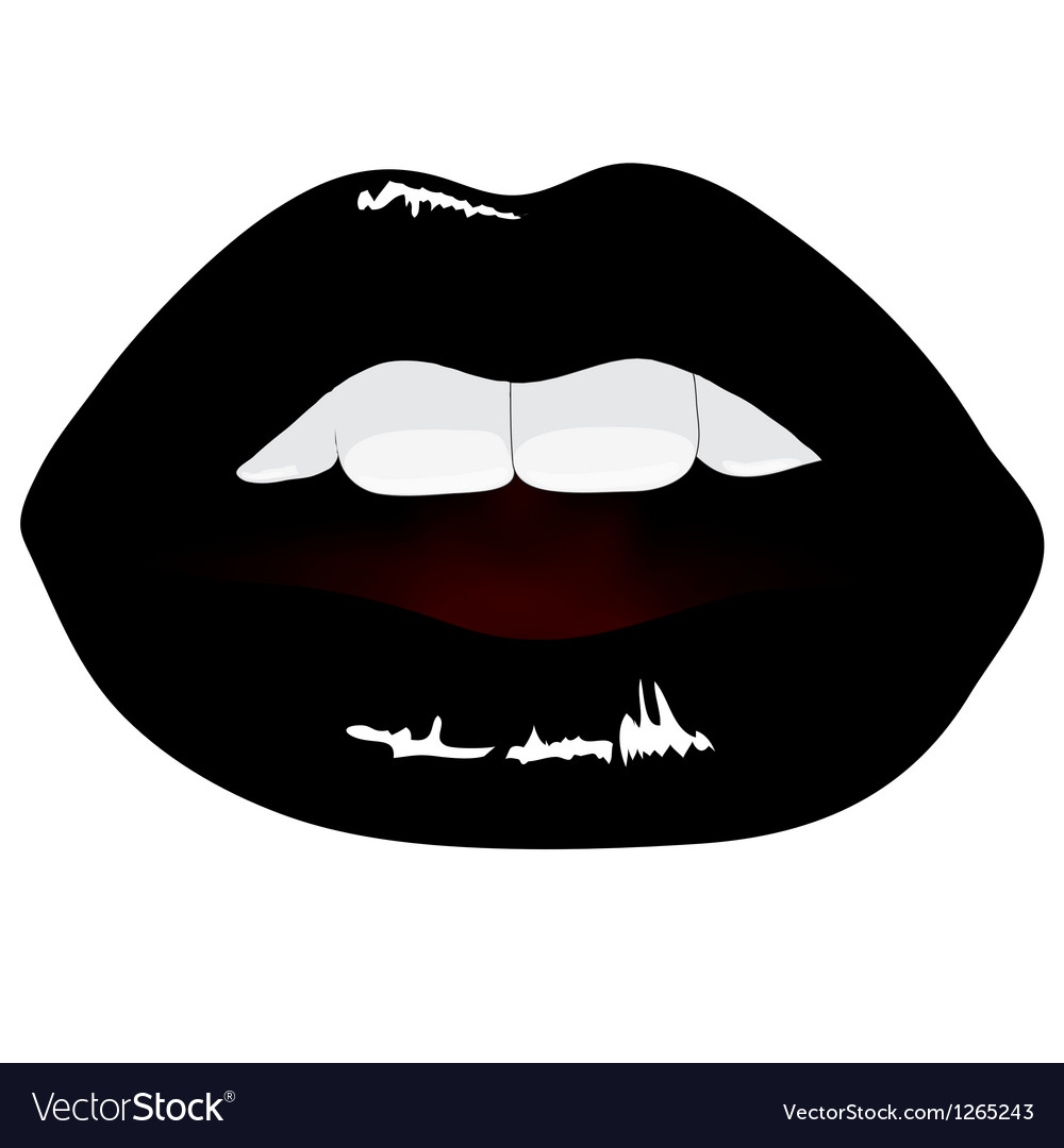 Lips in black color vector