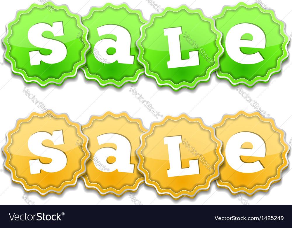 Yellow and green sale tags vector