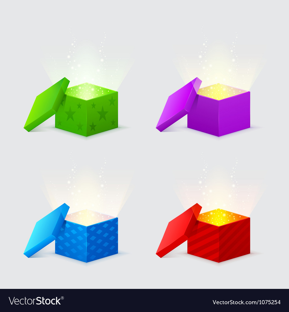 Magic light comes from the gift boxes vector