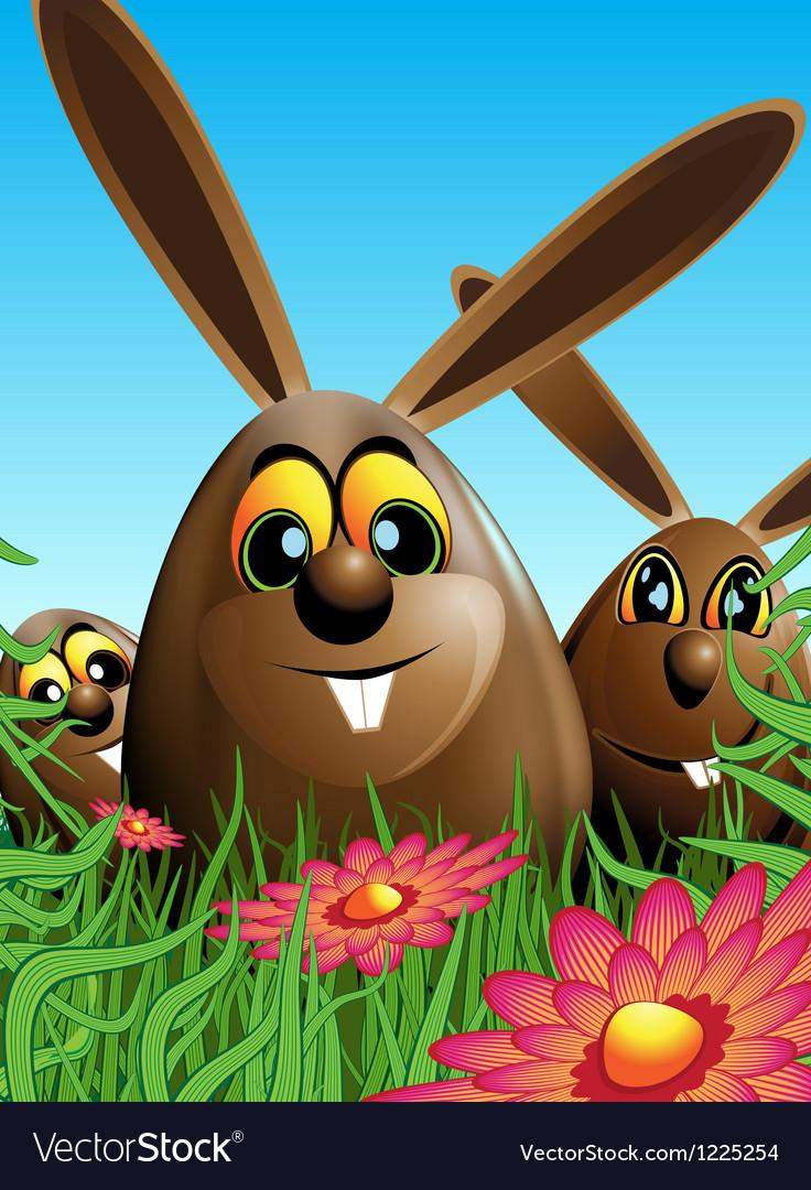 Three easter eggs hidden in the grass vector