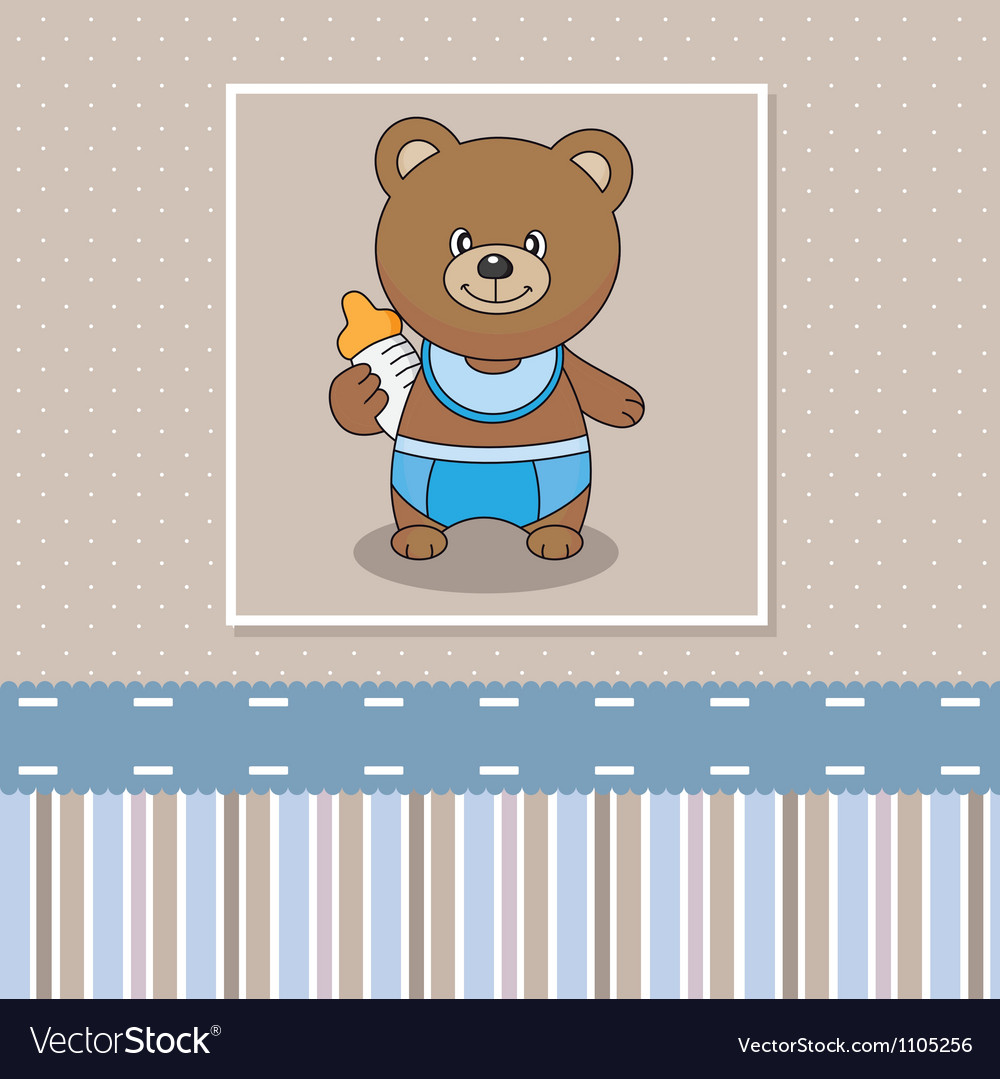Bear with a baby bottle vector