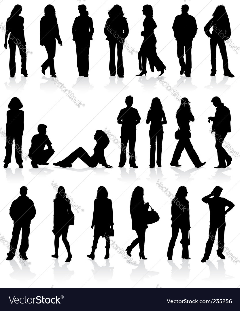 Set silhouettes man and women vector