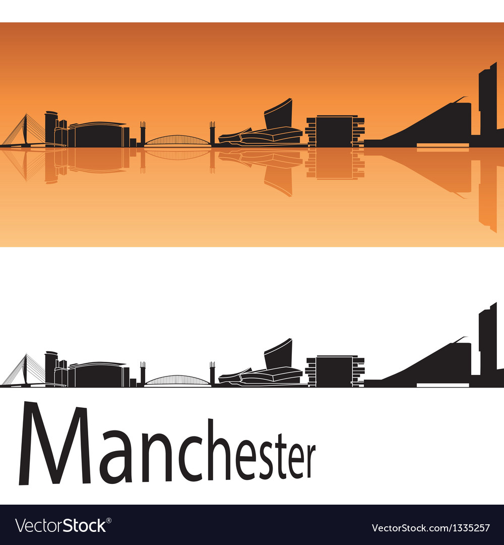 Manchester skyline in orange background vector
