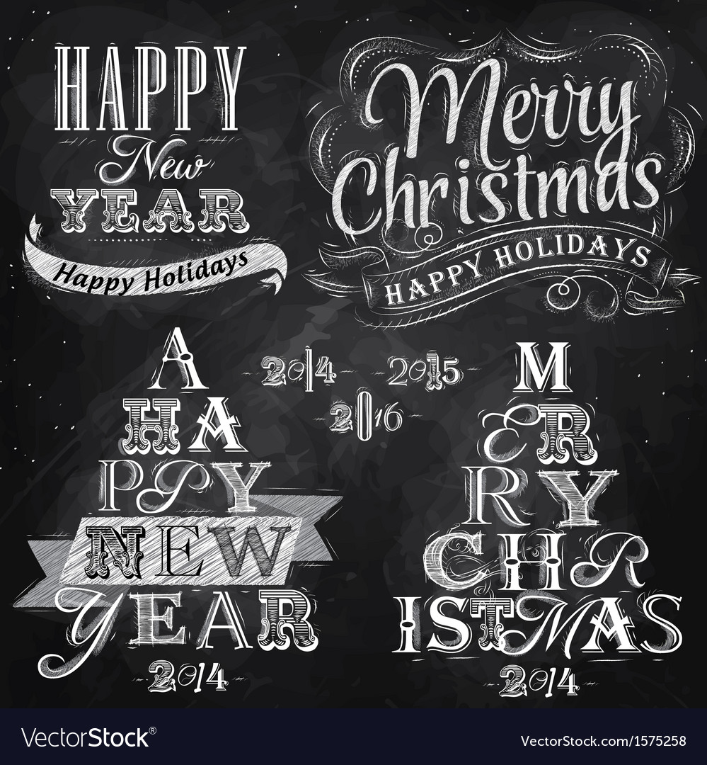 Set merry christmas happy chalk vector
