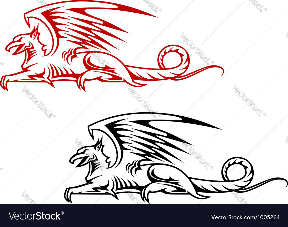Medieval griffin monster vector