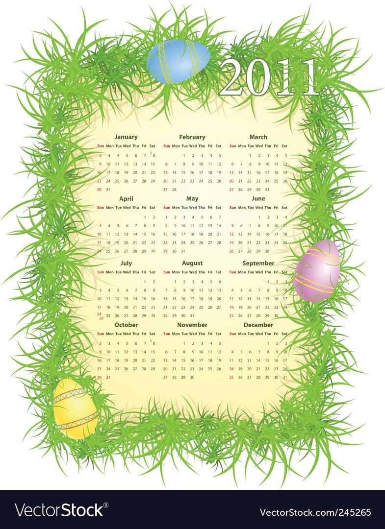 Easter calendar 2011 vector