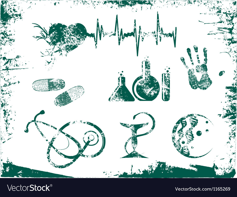 Grunge medicine tools vector