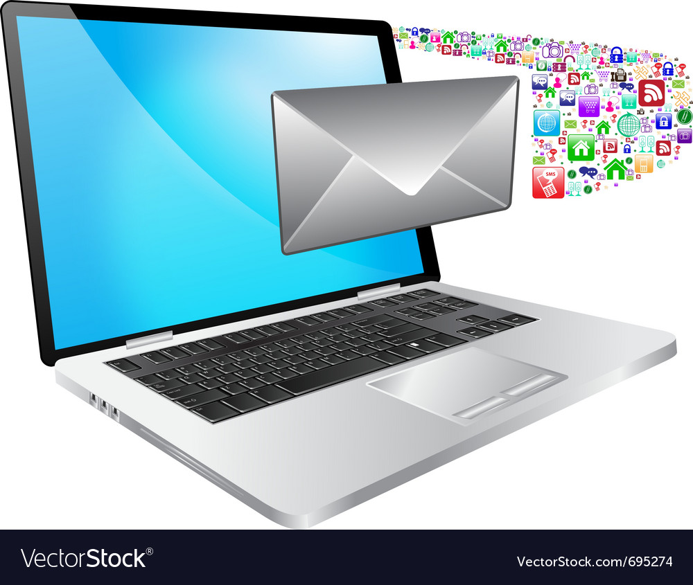 Laptop and message vector
