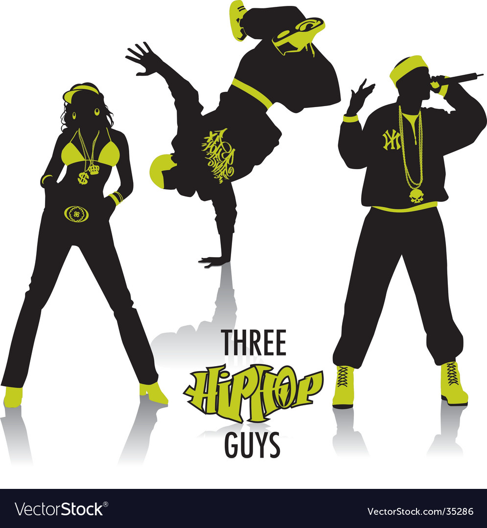 Hip-hop silhouettes vector