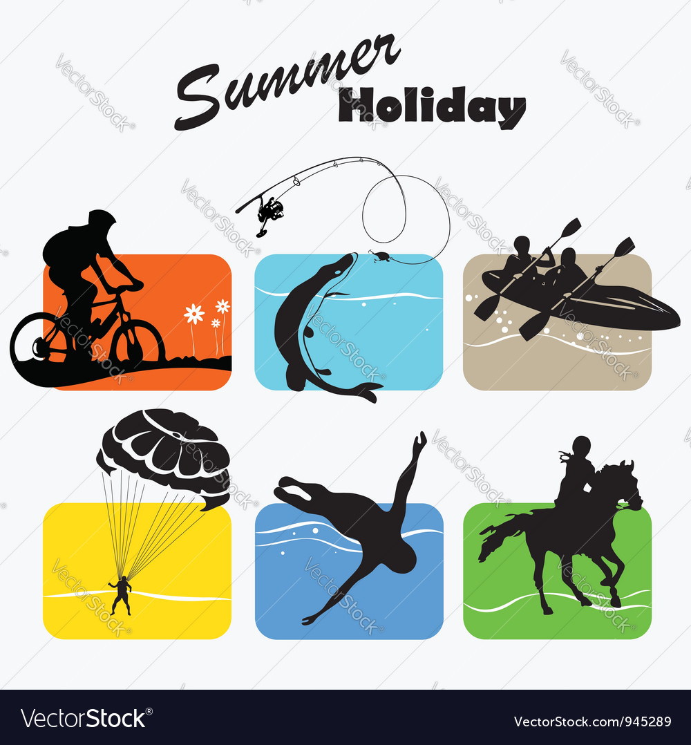Active rest summer holiday set icon vector