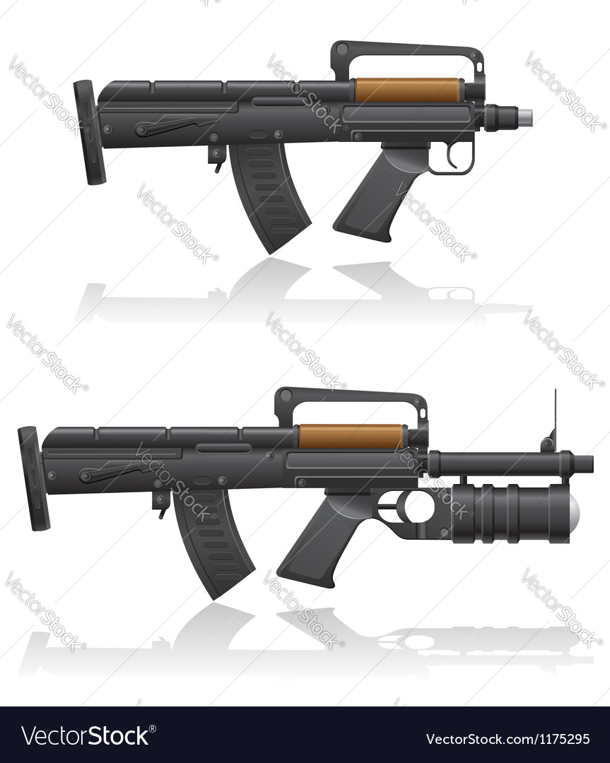 Machine gun with a short barrel and grenade vector