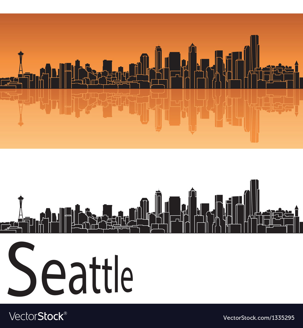 Seattle skyline in orange background vector