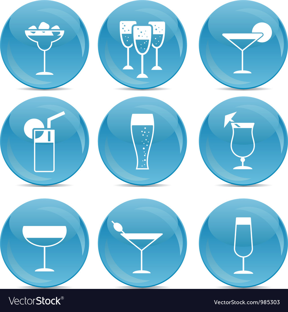 Cocktail web icons vector