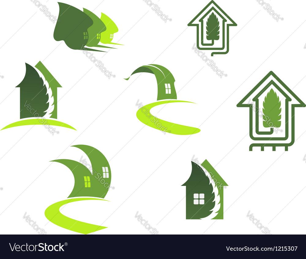 Green ecological symbols vector