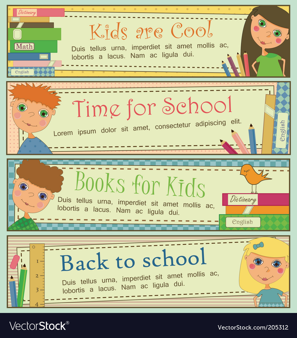 Kids in school banners vector