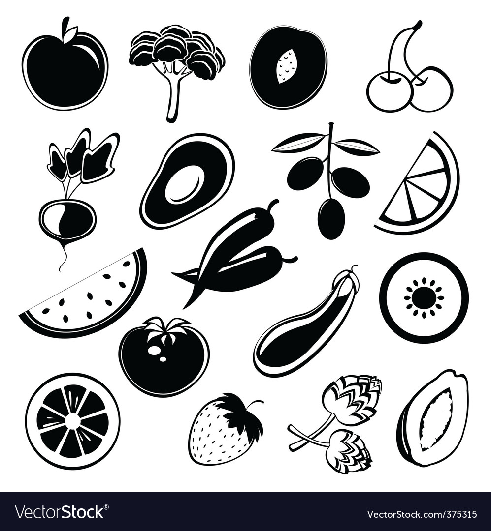 Fruit and vegetables silhouettes vector