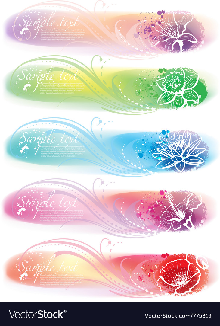 Set of horizontal colorful banners vector