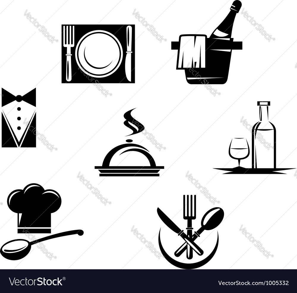 Restaurant icons and menu elements vector