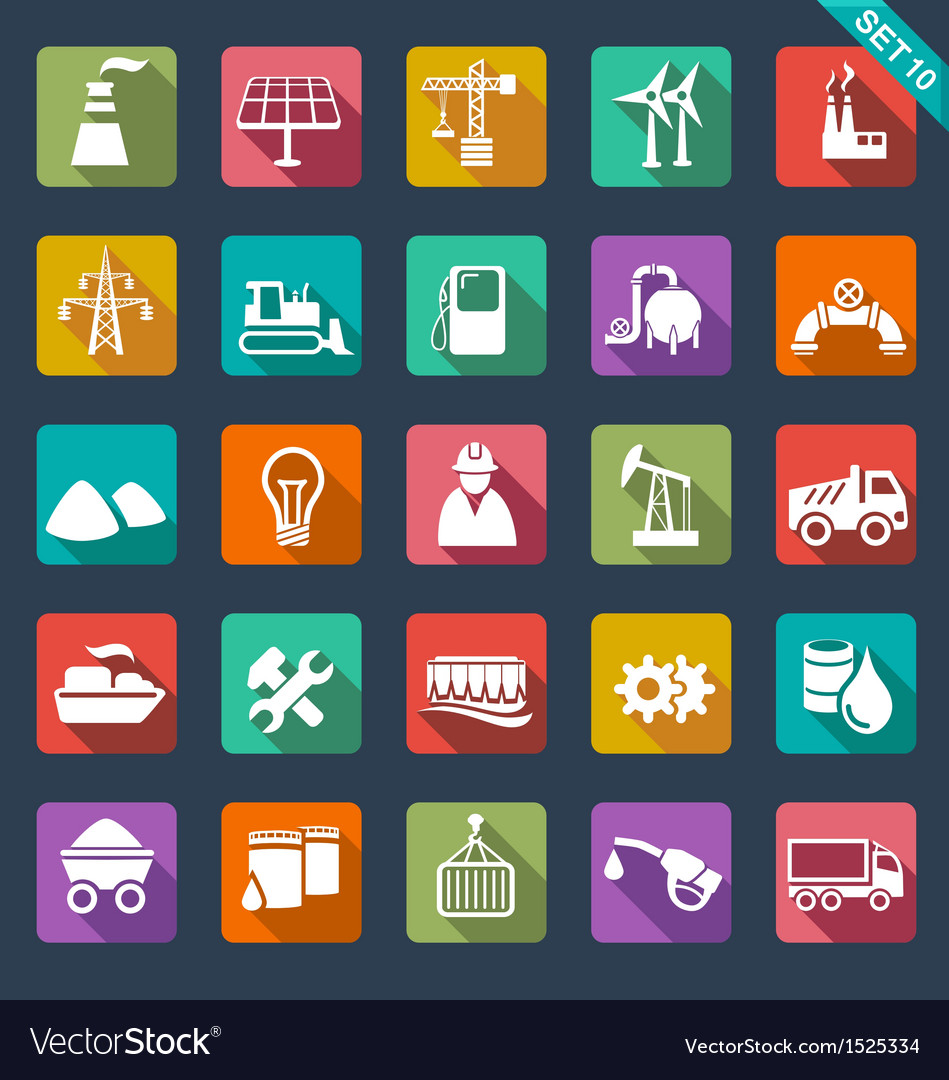 Industry icons  flat design vector