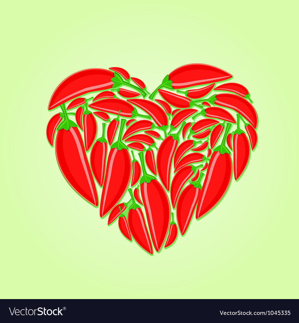 Red hot peppers in shape of heart vector