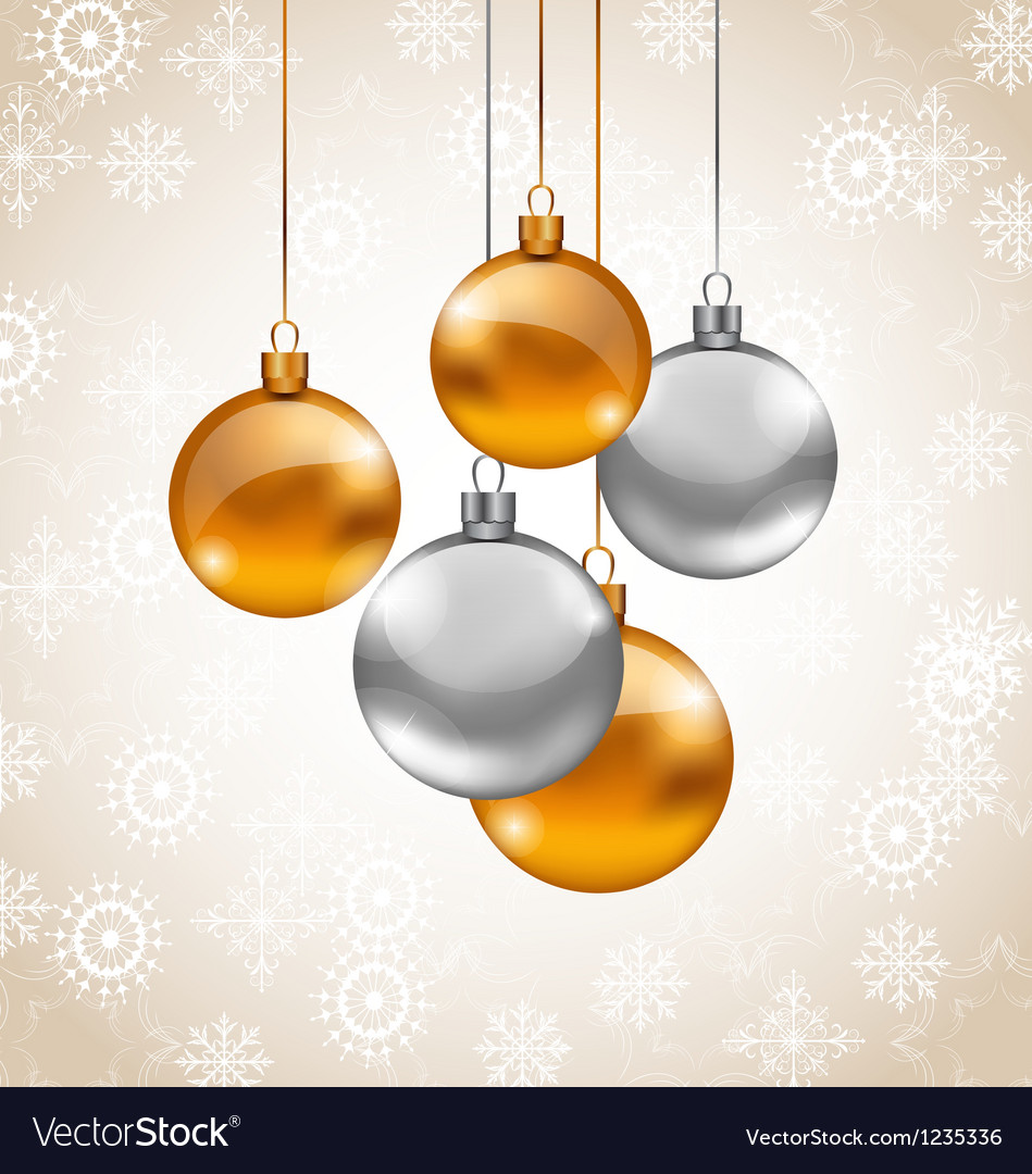 Holiday background with christmas balls vector