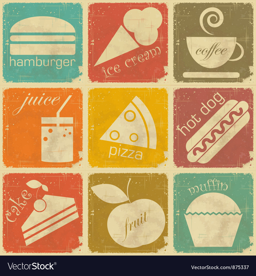 Set of vintage food labels vector