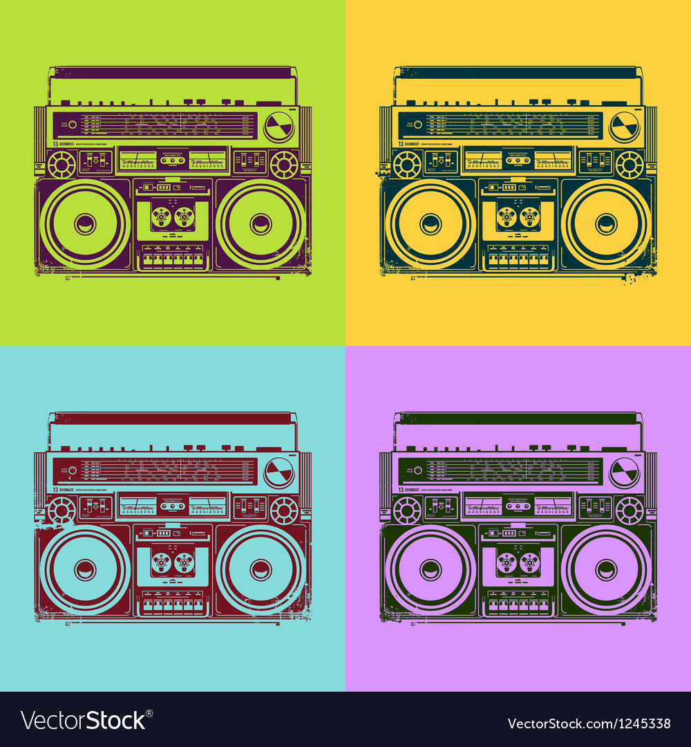 Old-school tape recorders vector