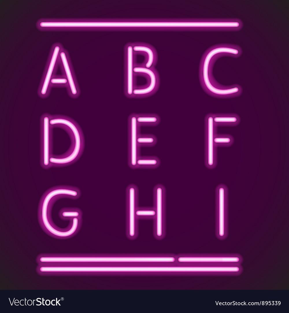 Realistic neon alphabet a-i vector