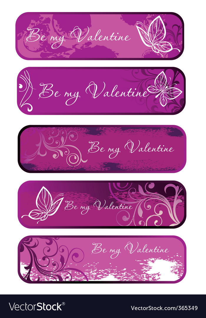 Set of pink banners vector